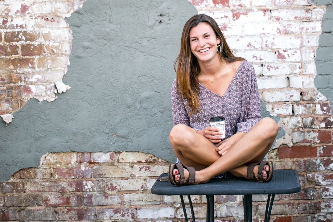 tulsa senior photographer, coffee, glasses, natural pose, smile